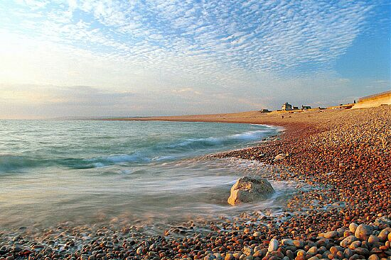 'Chesil Beach - blue sky' - an enlargement of this landscape photograph